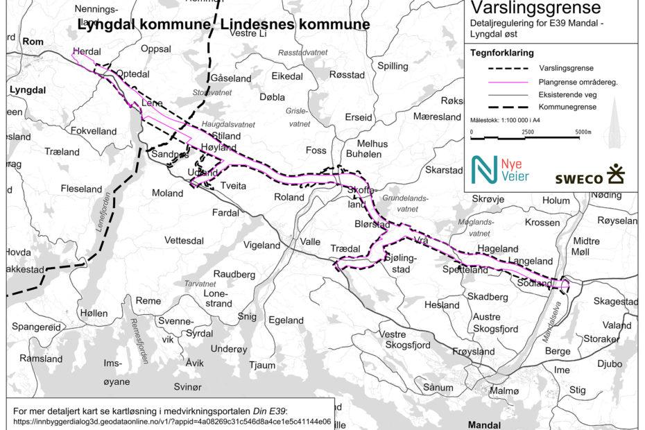 Varslingskart E39 Mandal - Lyngdal øst