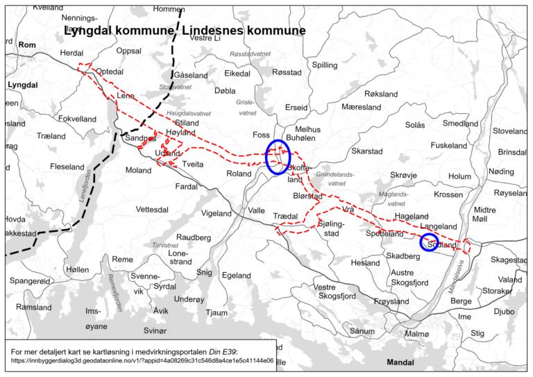 E39 Mandal - Lyngdal øst varslingskart