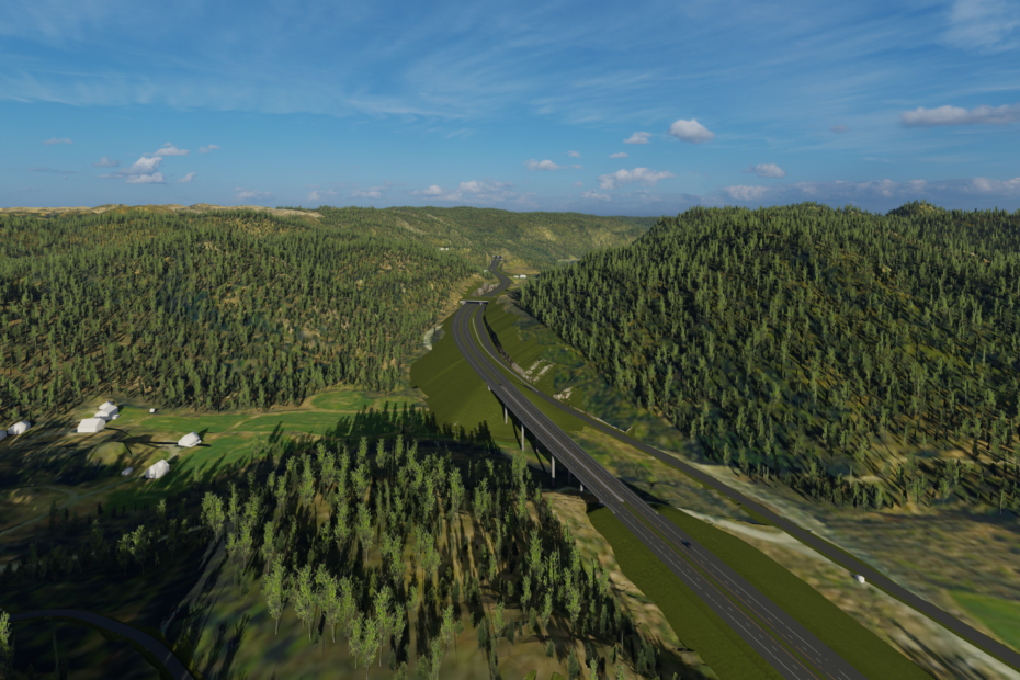 E39 Mandal - Lyngdal øst Illustrasjon sett fra Herdal mot Lene