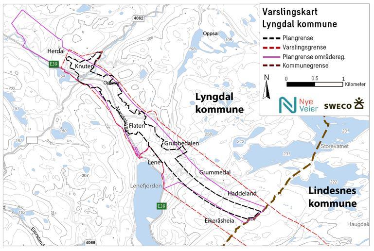Varslingskart E39 Mandal - Lyngdal øst offentlig ettersyn